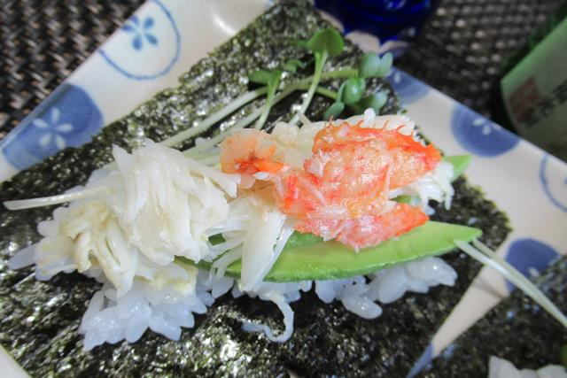 毛ガニの手巻き寿司 作り方